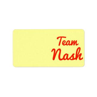 Team Nash Address Label