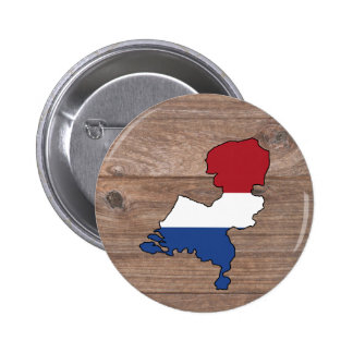 Team netherlands Flag Map on Wood Button
