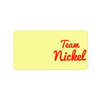 Team Nickel Address Label