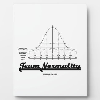 Team Normality (Bell Curve Statistics Humor) Plaque