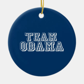 TEAM OBAMA Double-Sided CERAMIC ROUND CHRISTMAS ORNAMENT