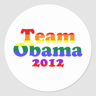 Team Obama Gay Pride Rainbow Classic Round Sticker