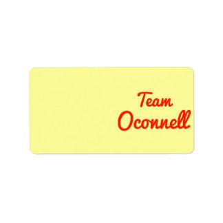 Team Oconnell Address Label