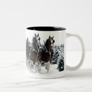 Team of horses drive through snow coffee mugs