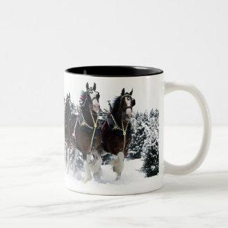 Team of horses drive through snow Two-Tone coffee mug