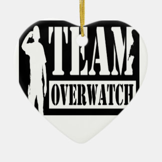 Team Overwatch Double-Sided Heart Ceramic Christmas Ornament