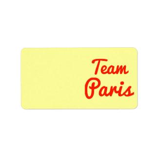 Team Paris Address Label