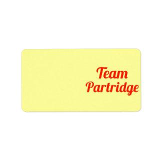 Team Partridge Labels