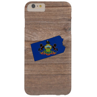 Team Pennsylvania Flag Map on Wood Barely There iPhone 6 Plus Case