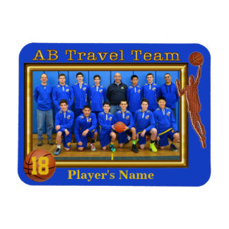Team Photo and Player's NAME Basketball Magnets