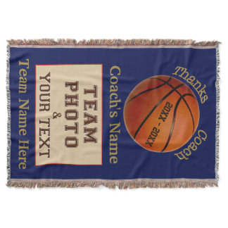 Team PHOTO Personalized Basketball Coach Gifts Throw Blanket