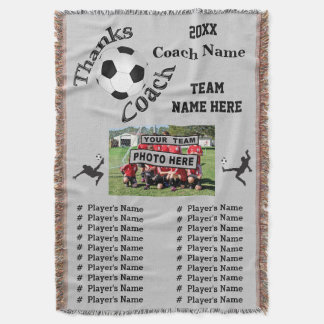 Team Photo, Players Names Great Soccer Coach Gifts Throw