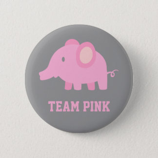 Team Pink, Baby Girl Elephant, Gender Reveal Party Button