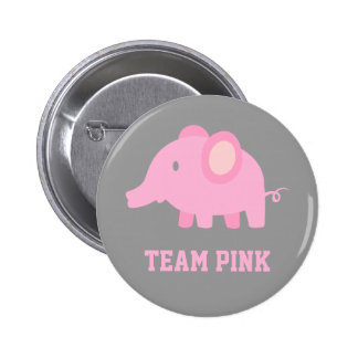 Team Pink, Baby Girl Elephant, Gender Reveal Party Pin