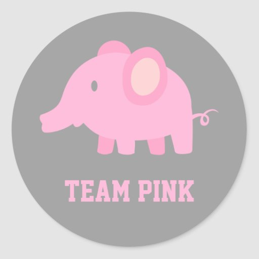 Team Pink, Baby Girl Elephant, Gender Reveal Party Round Sticker
