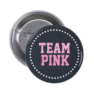 Team Pink Chalkboard Baby Gender Reveal 2 Inch Round Button