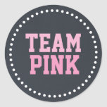 Team Pink Chalkboard Baby Gender Reveal Stickers