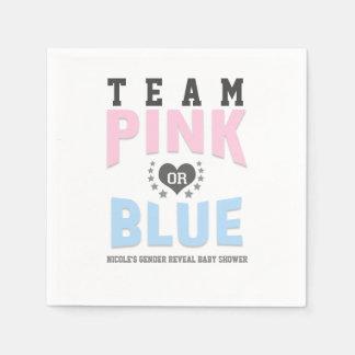 Team PINK or BLUE Gender Reveal Baby Shower Paper Napkin