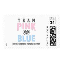 Team PINK or BLUE Gender Reveal Baby Shower Postage