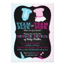Team Pink or Blue Gender Reveal Invitations