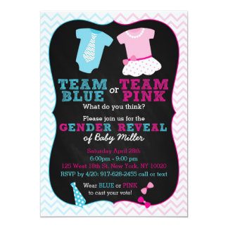 "Team Pink or Blue Gender Reveal Invitations 5"" X 7"" Invitation Card"