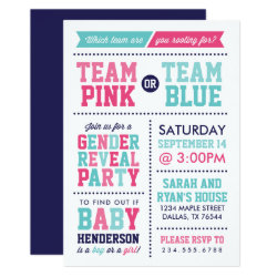 Team Pink or Team Blue Baby Gender Reveal Invitation