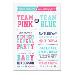 Team Pink or Team Blue Baby Gender Reveal Invitations