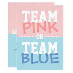 Team Pink or Team Blue Baby Gender Reveal Party Invitation