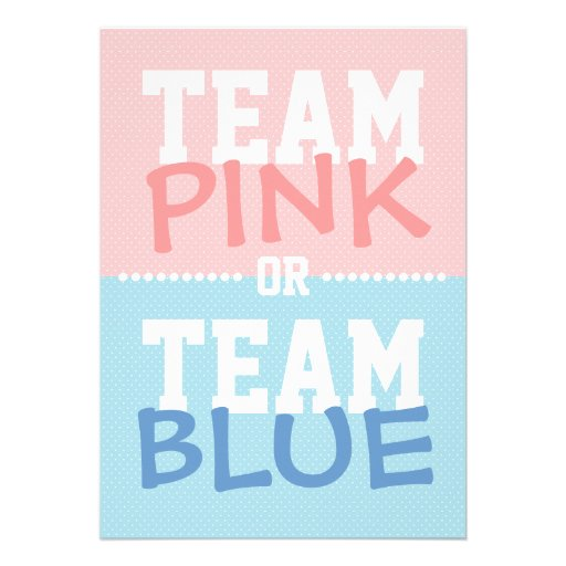 Team Pink or Team Blue Baby Gender Reveal Party Custom Invite
