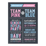Team Pink or Team Blue Chalkboard Gender Reveal 5x7 Paper Invitation Card
