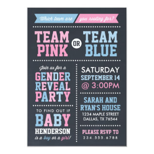 Team Pink Or Team Blue Chalkboard Gender Reveal Card at Zazzle