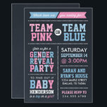 "Team Pink or Team Blue Chalkboard Gender Reveal Invitation<br><div class=""desc"">Invite friends and family to find out if your new baby is a boy or a girl with this cute trendy modern baby gender reveal party invitation. The design features a sporty Team Pink or Team Blue theme with a fun bold mix of typography in shades of white, pink and...</div>"