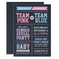 Team Pink or Team Blue Chalkboard Gender Reveal Invitation