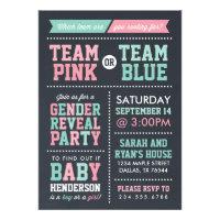 Team Pink or Team Blue Chalkboard Gender Reveal Invitation
