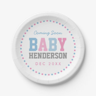 Team Pink or Team Blue Personalized Party Plates
