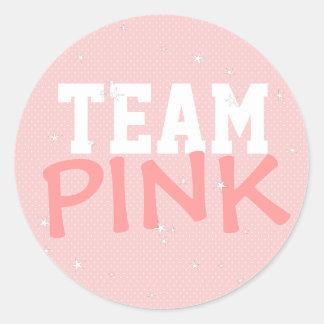 Team Pink Polka Dot & Stars Round Sticker