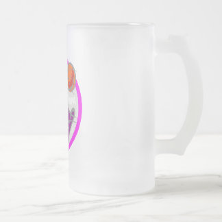Team play frosted glass beer mug