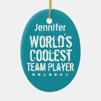TEAM PLAYER Teal Background Custom Name A02 Ceramic Ornament