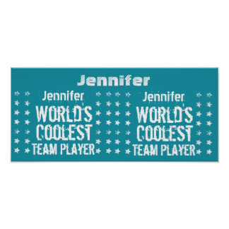 TEAM PLAYER Teal Background Custom Name A02 Poster