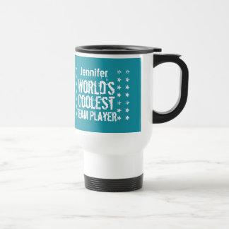 TEAM PLAYER Teal Background Custom Name A02 Travel Mug