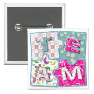 Team Puzzles 2 Inch Square Button