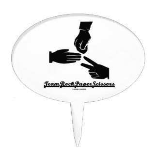 Team Rock Paper Scissors (Black and White) Oval Cake Toppers