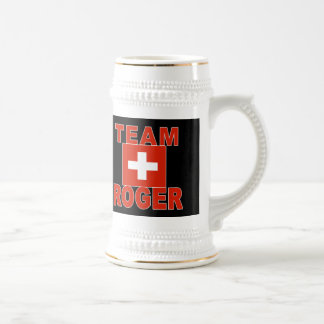 Team Roger with Swiss Flag Beer Stein