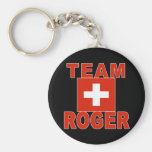 Team Roger with Swiss Flag Basic Round Button Keychain