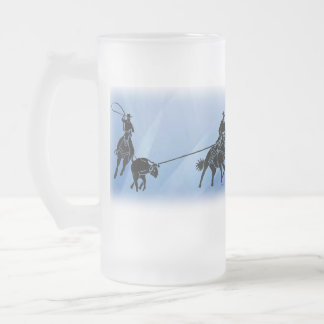 team ropers 201 frosted glass beer mug