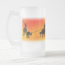 Team Ropers 202 Frosted Glass Beer Mug
