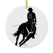team ropers ceramic ornament