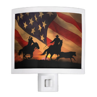 Team Ropers Rodeo with Flag  Night Light