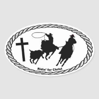 Team Roping Cross Euro Style Oval Sticker