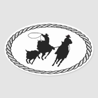 Team Roping Euro Style Oval Sticker